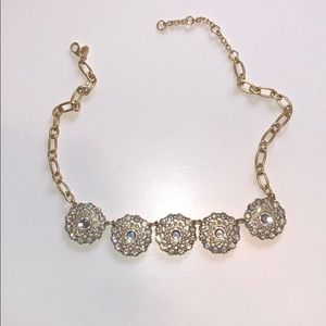 Gold and rhinestone JCrew necklace